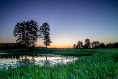 Romantisk sjö och flod Arkivfoto