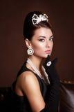 Romantisk skönhet retro stil retro kvinna för stående Fotografering för Bildbyråer