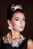Romantisk skönhet retro stil retro kvinna för stående Arkivfoton