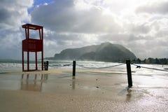 romantisk skyvinter för strand Arkivbild