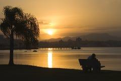 romantisk solnedgång Arkivfoto