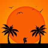 romantisk solnedgång vektor illustrationer