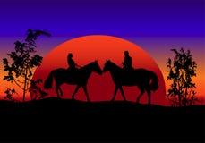 romantisk solnedgång stock illustrationer