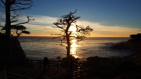 Romantisk solnedgång på 17 mil drev, Pebble Beach, Kalifornien Royaltyfria Foton