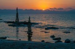 Romantisk soluppgång på ön av Kos arkivbild