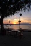 Romantisk soluppgång på Gili Trawangan Fotografering för Bildbyråer