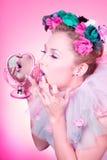 romantisk tappningkvinna Royaltyfri Fotografi