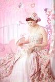 romantisk tappningkvinna för klänning Arkivfoton