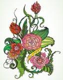 Romantisk tecknad blom- prydnad för färg hand Royaltyfri Bild