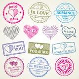 Romantisk uppsättning för vektor för portostämpel för att gifta sig och valentindagvykort vektor illustrationer