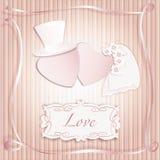 Romantisk vykort för inbjudan för tappningstilbröllop Royaltyfri Foto