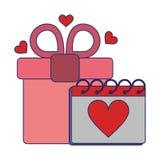 Romantiska blålinjen för datum för gåvaask och kalenderförälskelse stock illustrationer