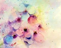 Romantiska blommakronblad för vattenfärg Fotografering för Bildbyråer