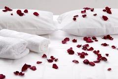 Romantiska härliga röda kronblad på vita kuddar Royaltyfri Bild