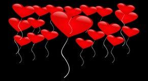 Romantiska hjärtor på svart bakgrund stock illustrationer