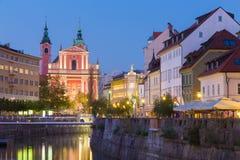 Romantiska medeltida Ljubljana, Slovenien, Europa Royaltyfria Foton