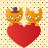 Romantiska par av två älska katter - illustration,  Royaltyfri Bild