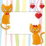 Romantiska par av två älska katter - illustration. Royaltyfri Bild
