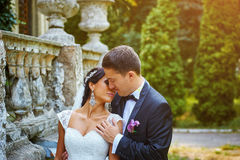 Romantiska par för bröllopdag Arkivbild