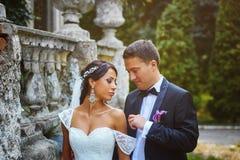 Romantiska par för bröllopdag Royaltyfri Foto