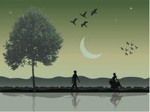 Romantiska par i natten vektor illustrationer