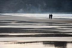 Romantiska par som går på stranden Royaltyfri Bild
