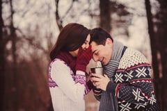 Romantiska par som har roliga valentin dag Royaltyfria Bilder