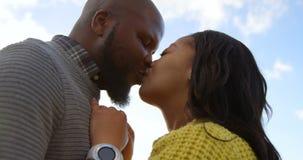 Romantiska par som kysser sig på en solig dag 4k arkivfilmer
