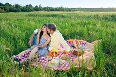 Romantiska par som tycker om en sommarpicknick Royaltyfria Bilder