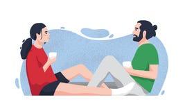 Romantiska partners som sitter på golv och dricker te eller kaffe Gullig pojkvän och flickvän som tillsammans spenderar tid på royaltyfri illustrationer