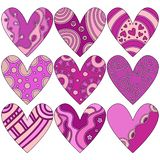 Romantiska rosa Valentine Heart Collection vektor illustrationer