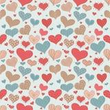 Romantiska skissar Retro förälskelsehjärtor för den sömlösa modellen illustrationen för vektorn för dagen för valentin s för klot Arkivfoto