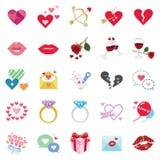 Romantiska symboler stock illustrationer
