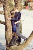 Romantiska tonårs- par vid trädet InPark Royaltyfria Foton