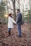 Romantiska unga par som rymmer händer i träna fotografering för bildbyråer