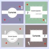 Romantiska vykort av pastellfärgade skuggor med gränsen för text Försiktiga baner med kaniner Konturkaniner och röda hjärtor royaltyfri illustrationer
