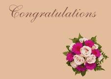 Romantiskt blom- tackar dig att card och blomma buketten Royaltyfri Bild