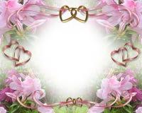 romantiskt bröllop för azaleasinbjudan Royaltyfria Bilder