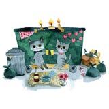 Romantiskt datum för två gråa katter stock illustrationer