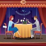 Romantiskt datum i en restaurang Arkivfoto