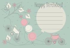 Romantiskt födelsedagkort med gulliga cyklar, ballonger och blommor Royaltyfri Fotografi