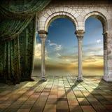 romantiskt fönster Arkivbilder