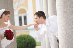 Romantiskt gift par Arkivfoto
