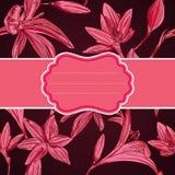 Romantiskt hälsningkort med blommor med utrymme för din text. Ve Arkivbild
