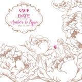 Romantiskt inbjudankort med blommor och den gulliga lilla fen Arkivbilder