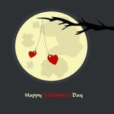 Romantiskt kort för dag för valentin` s med hjärtor Arkivbilder