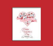 Romantiskt kort för valentindag med hjärtaform royaltyfri illustrationer