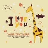 Romantiskt kort med den gulliga giraffet Royaltyfri Fotografi