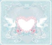 Romantiskt kort med förälskelsefåglar - bröllopinbjudan Arkivfoto