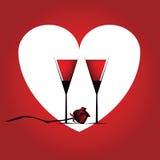 Romantiskt kort med hjärta Arkivfoto